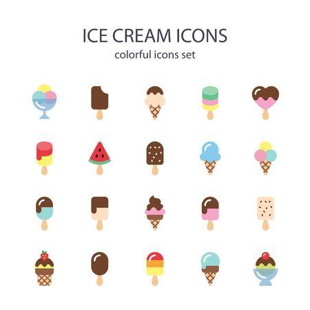 아이스크림 다채로운 아이콘.
