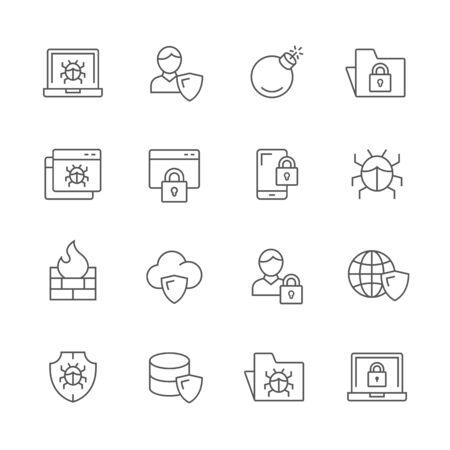 인터넷 보안 아이콘.