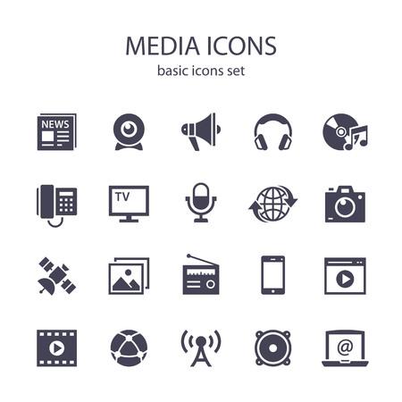 Media icons. Ilustração
