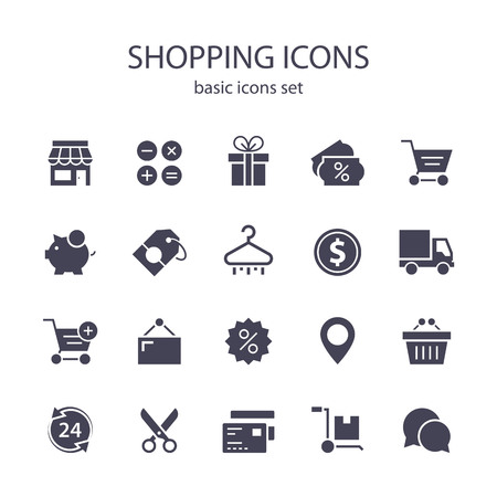 Icônes shopping. Vecteurs