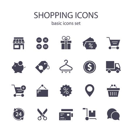 Zakupy ikon.  Ilustracje wektorowe