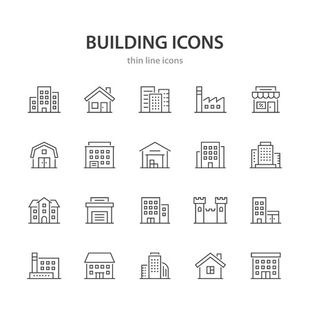 Building line icons. 矢量图像
