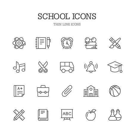 School line icons. Ilustração