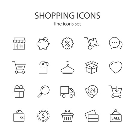 Shopping line icons.