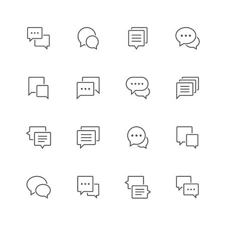 Speech bubble line icons.