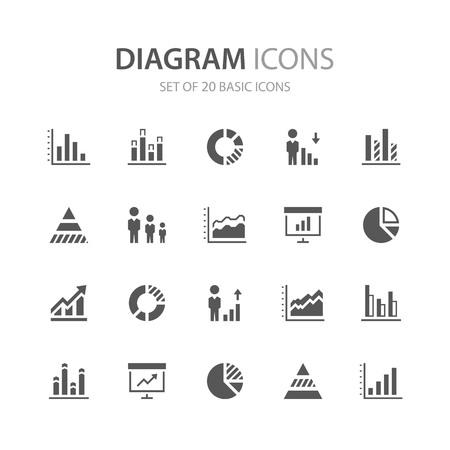 Diagram icons. Ilustração