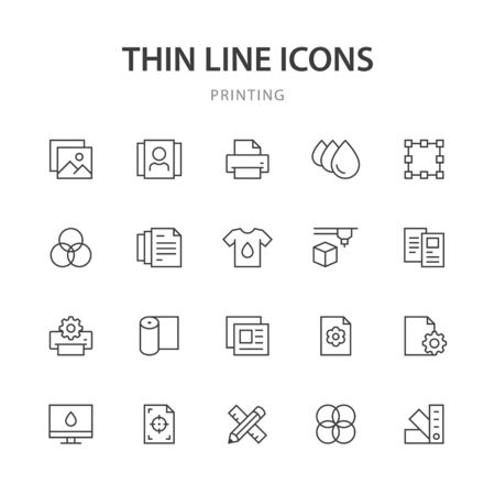 Printing line icons. Ilustração