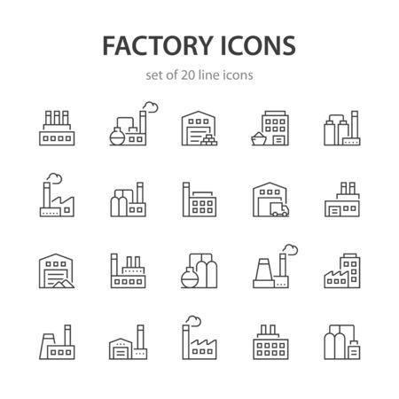 Factory line icons. Ilustração