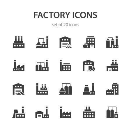 Factory icons. Ilustração