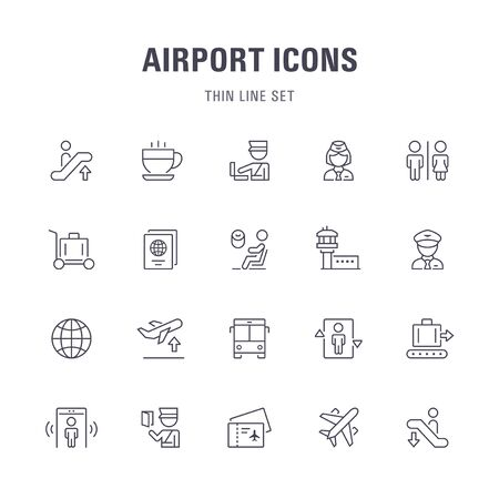 Airport line icons.