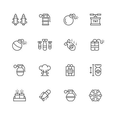 Bomb line icons. Illusztráció