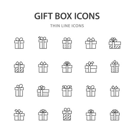 Gift box line icons.