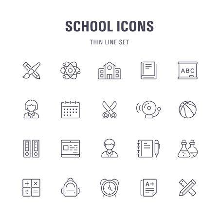 School line icons. Ilustracja