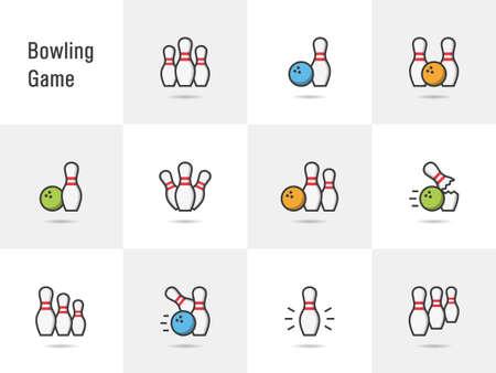 Bowling game icons. Illusztráció