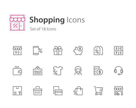 Shopping icons. Illusztráció