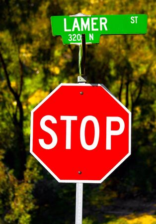 Funny picture of a stop sign and the lamer