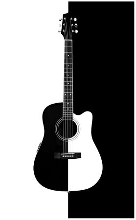 picture of an black & white acoustic-electric guitar