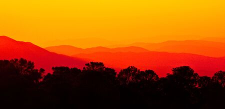 Sunset over Angeles forest mountains