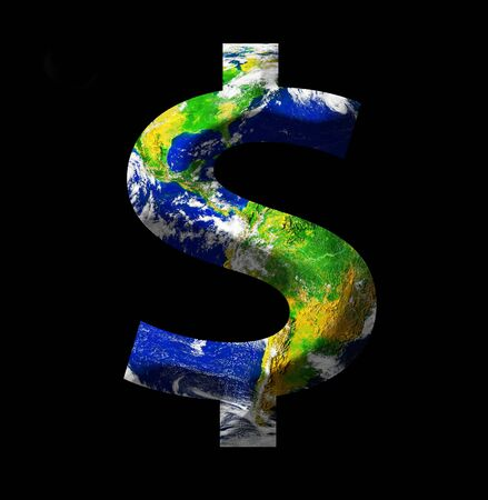 money cosmos: Earth as a dollar sign isolated on black Stock Photo