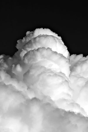 Picture of the white clouds on the black sky