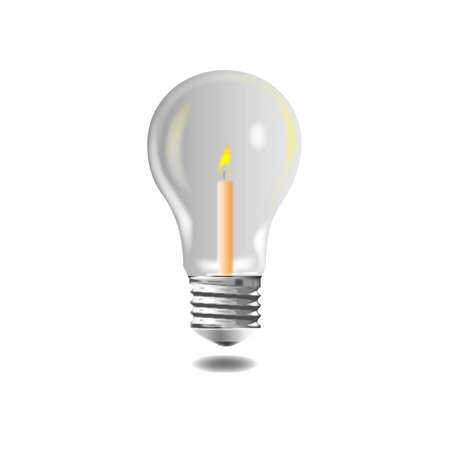 Electric Light bulb with candle on white Stock Vector - 10137557
