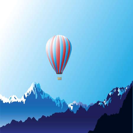 midair: Mountains with hot air ballon