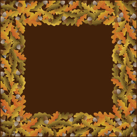 crumple: autumn frame with acorns on brown background Illustration