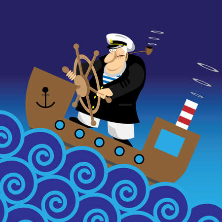 anchor man: captain on the ship Illustration