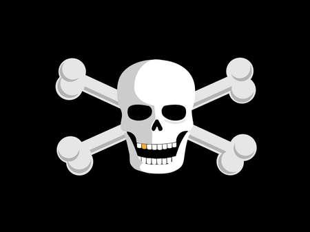 cross bones: Jolly roger o huesos del cr�neo y Cruz piratean bandera. Vectores