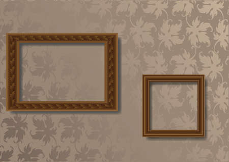 Two old wooden frames for photo on the wallpaper Stock Vector - 10296796