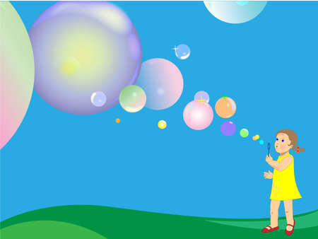 pink bubbles: girl blowing bubbles