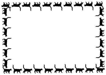 puppy and kitten: Black cats silhouette for your design Illustration