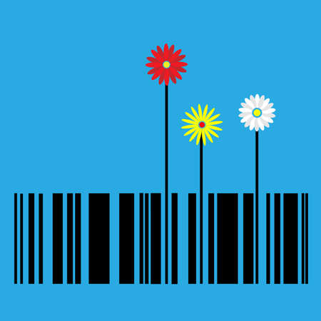 scanned: flower  stylized as barcode Illustration