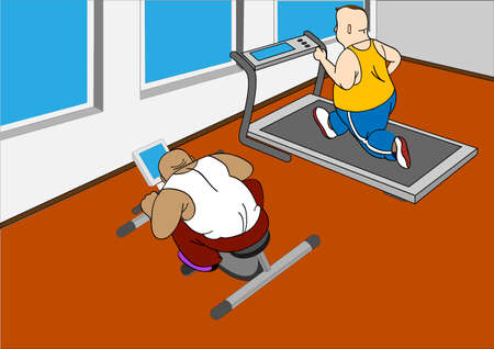Overweight mans running on a treadmill and  on  bike
