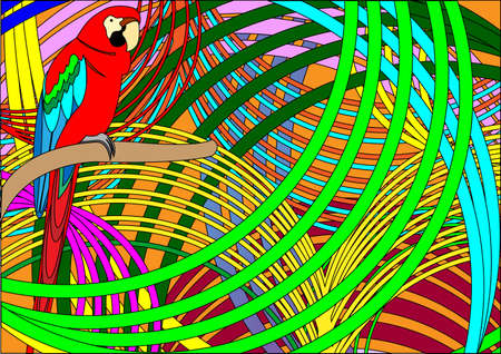 Exotic composition with parrot.  Vector