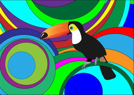 rare:  Exotic composition with toucan.  Illustration