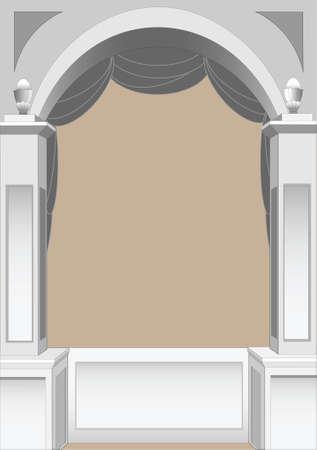 境界線またはフレームとして使用するための古典的なアーチのイラスト  イラスト・ベクター素材