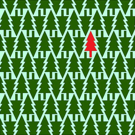 Christmas tree. Seamless  pattern. Vector