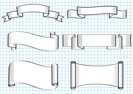 Hand drawn ribbons,banners. Illustration