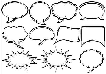 historietas: Conjunto de dibujado a mano discurso burbujas libro de estilo Vectores
