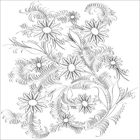 Hand-drawn line art  flower design.Vector illustration. Vector