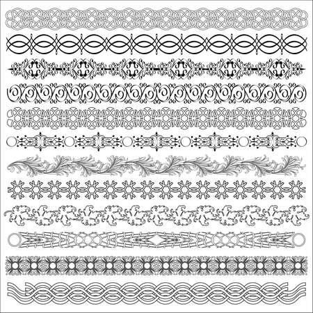 carve: Vector set of borders for design. Illustration
