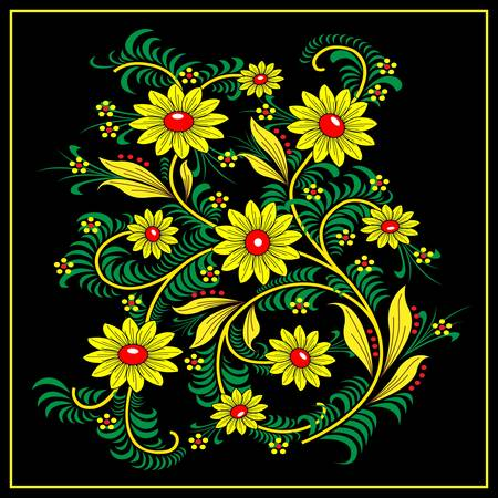 folk art: Traditional Khokhloma-style pattern. National Russian handmade Illustration
