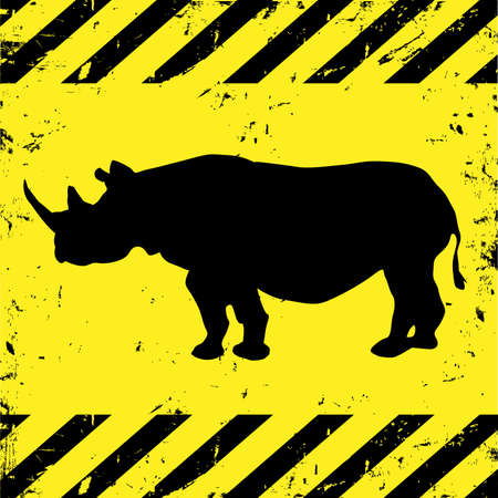 warning graphic: Grunge construction background with rhino.Conceptual vector Illustration