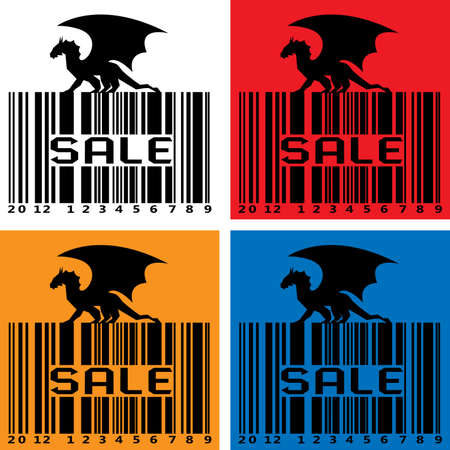 Stylized Sale-Barcode with black Dragon - symbol 2012 year Vector
