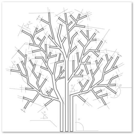 tree outline:  Black and white abstract background.Tree in  architectural style.