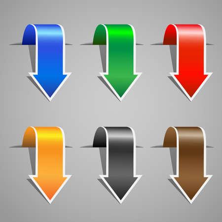 freccia giù: Arrow adesivi. Vector set