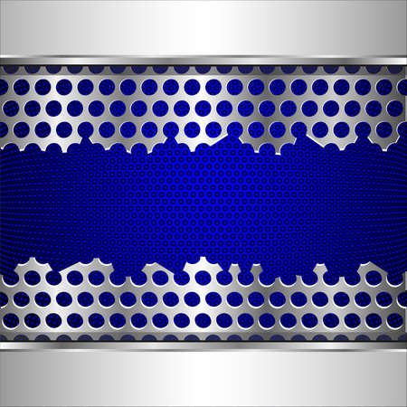 metal grid: Vector background with damaged perforated metal plate  Illustration