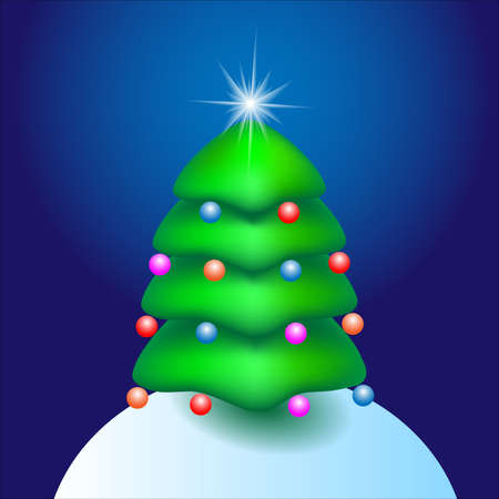 Christmas cartoon tree with star. Vector illustration  Stock Vector - 11552291