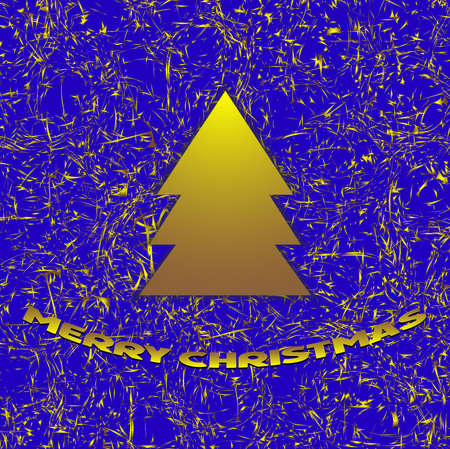 Golden christmas background on blue Vector